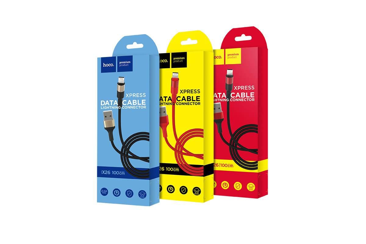 Кабель для iPhone HOCO X26 Xpress charging data cable for Lightning 1м черно-золотистый