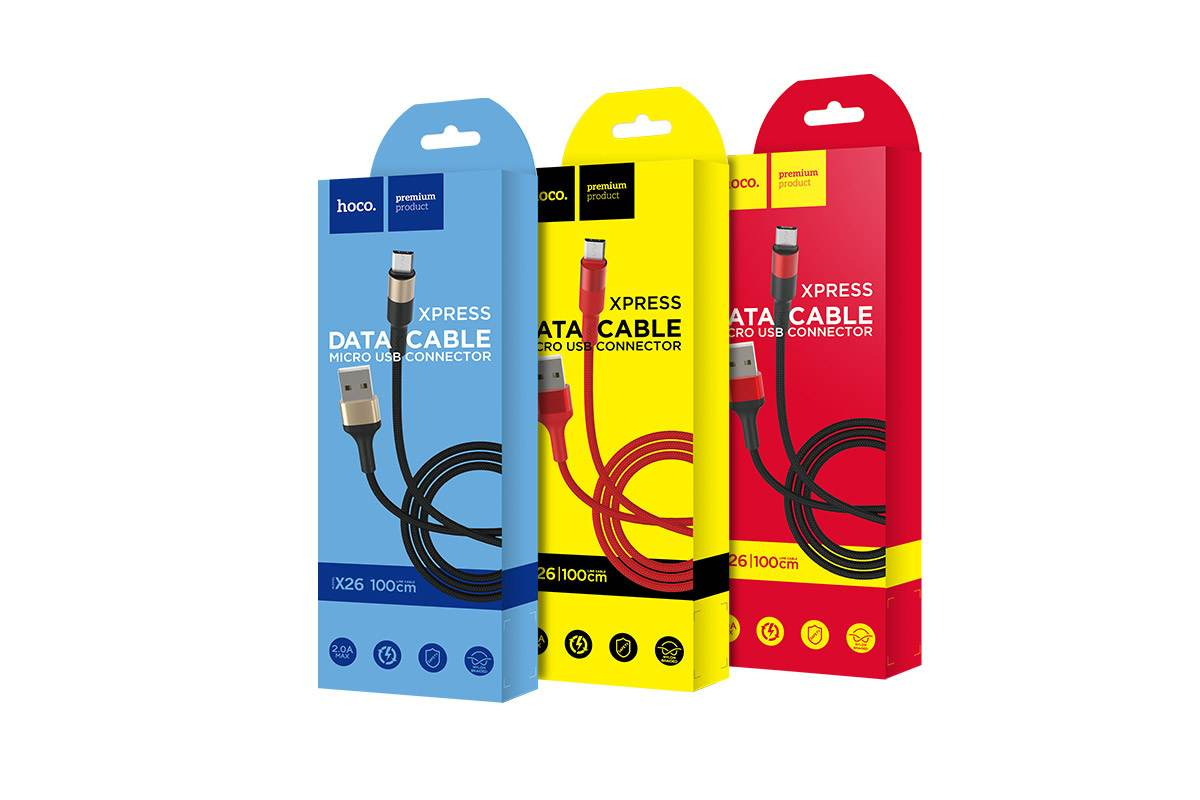 Кабель USB micro USB HOCO X26 Xpress charging data cable (черно-красный) 1 метр