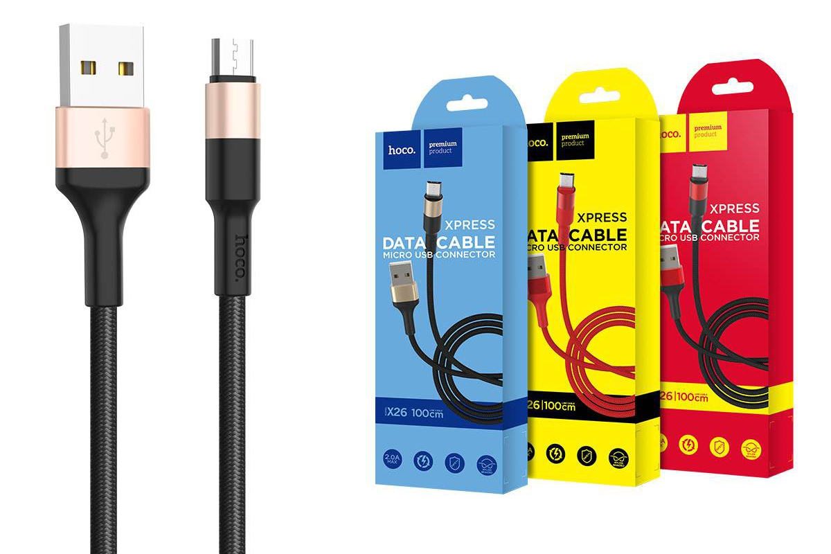 USB D.CABLE HOCO X26 Xpress charging data cable for Type-C (черно-золотистый) 1 метр