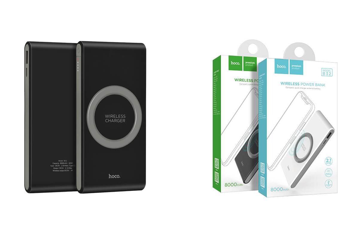Универсальный дополнительный аккумулятор HOCO B32 Energetic wireless power bank 8000 mAh черный