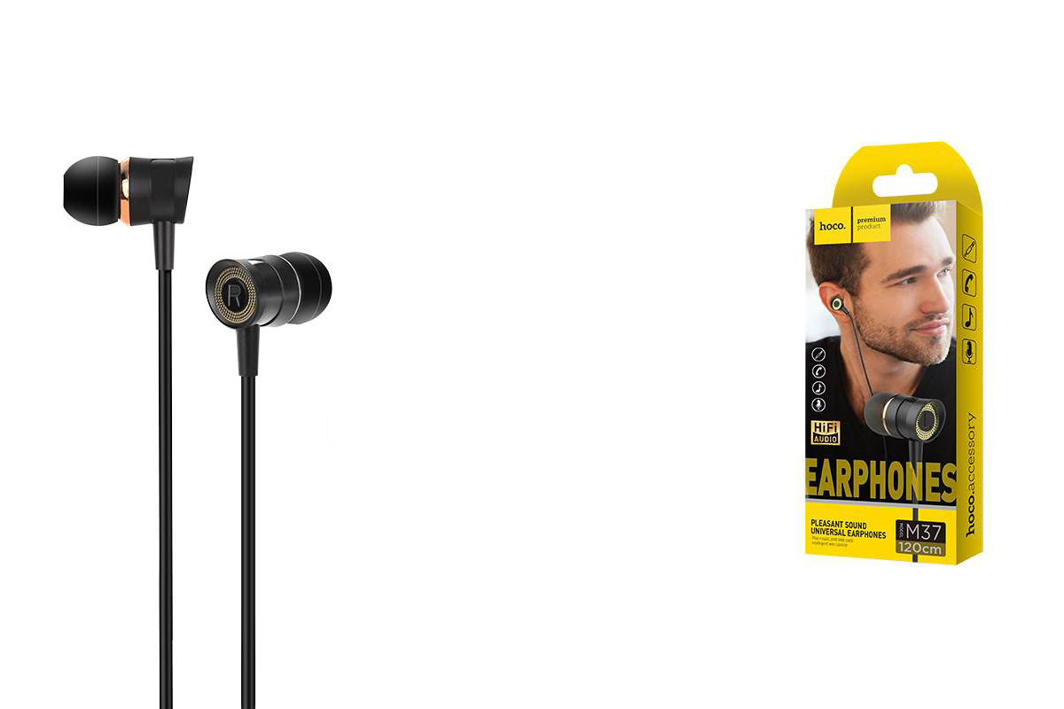 Гарнитура HOCO M37 pleasant sound universal earphones with microphon 3.5мм черный