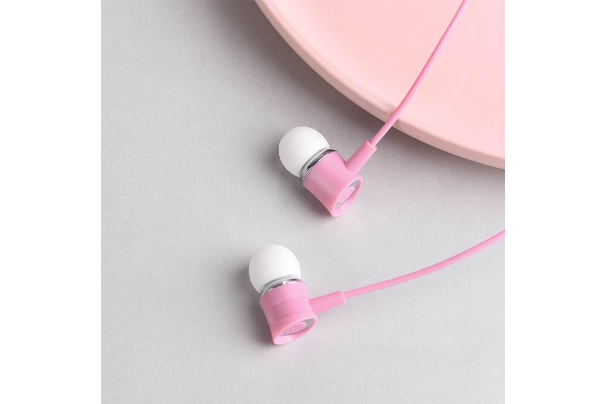 Гарнитура HOCO M37 pleasant sound universal earphones with microphon 3.5мм розовый