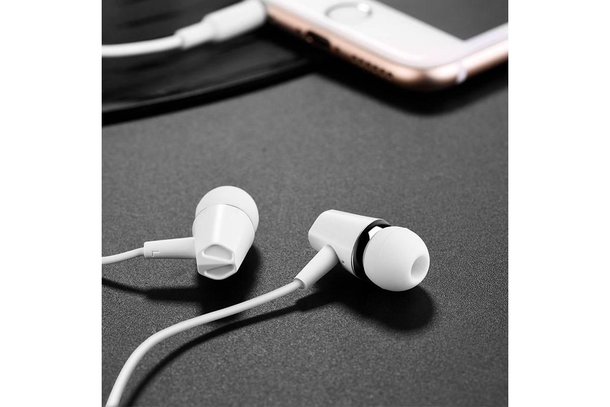 Гарнитура HOCO M34 honor music universal earphones with microphone 3.5мм белый