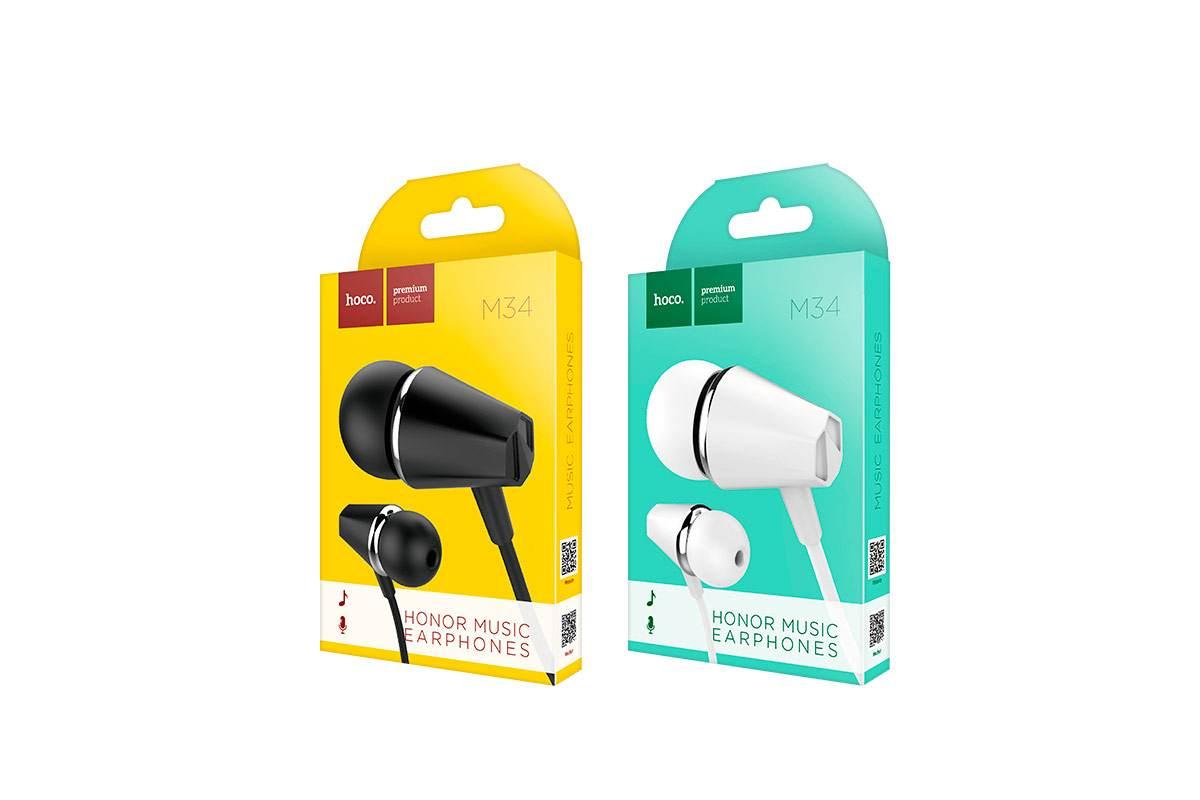Гарнитура HOCO M34 honor music universal earphones with microphone 3.5мм черный