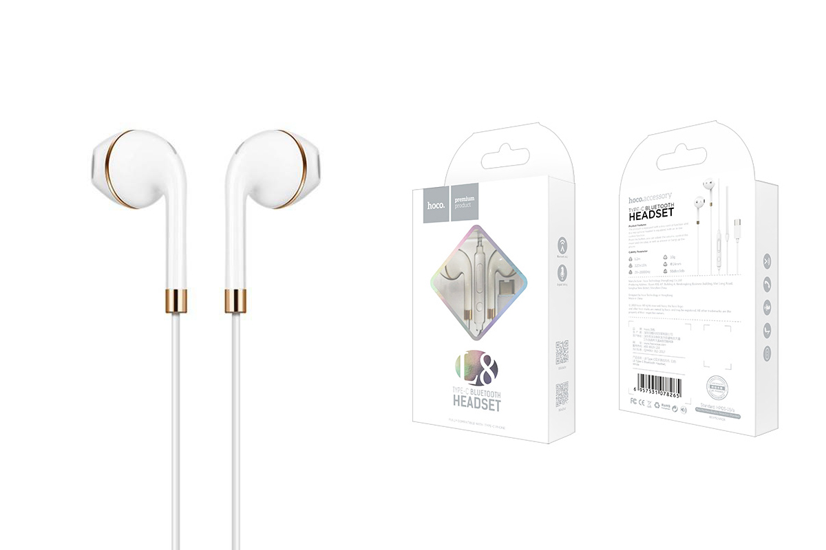 Bluetooth-гарнитура L8 Type-C bluetooth earphones HOCO белая