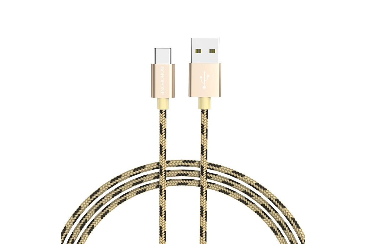 Кабель USB BOROFONE BX24 Ring current charging data cable for Type-C (золотой) 1 метр