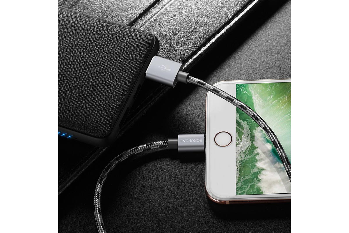 Кабель для iPhone BOROFONE BX24 Ring current charging data cable for Lightning 1м серый