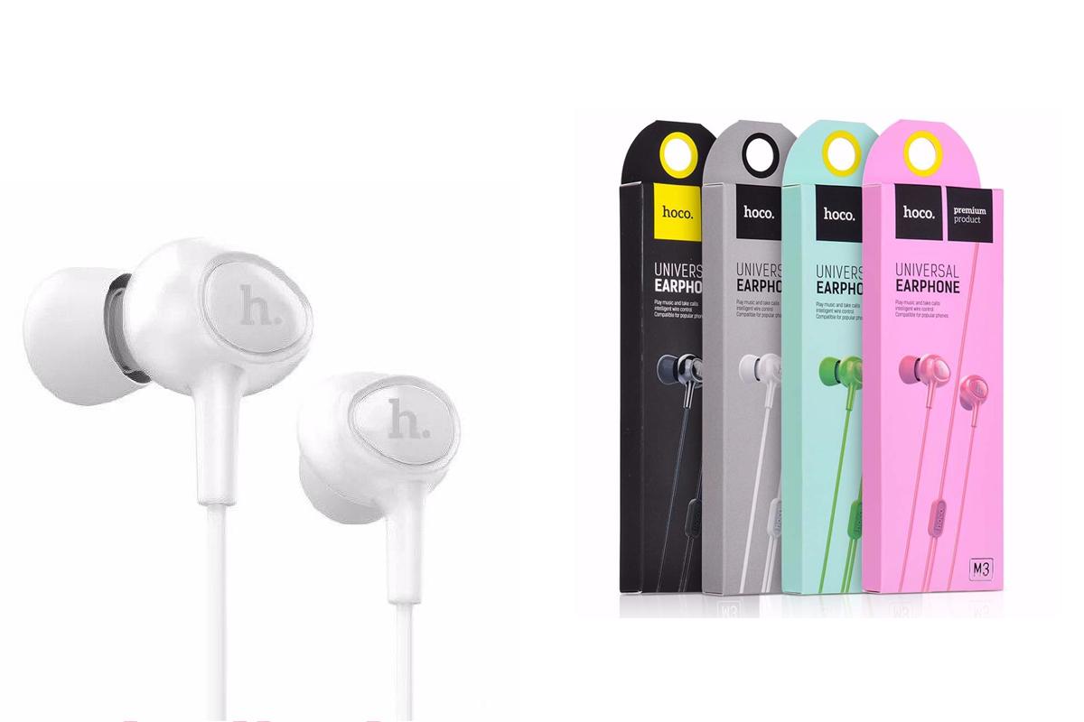 Гарнитура HOCO M3 universal earphones with microphone 3.5мм белый