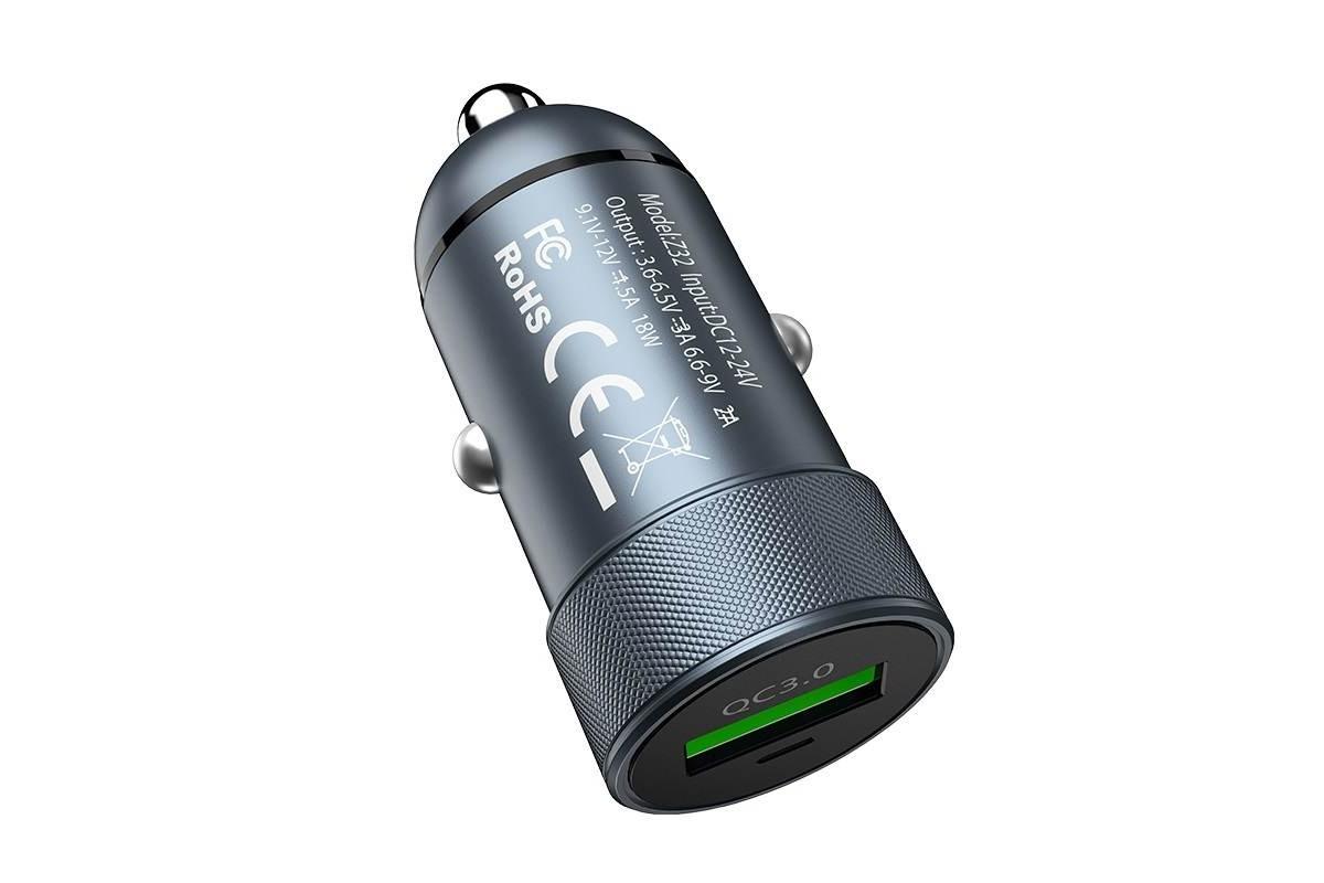 Автомобильное зарядное устройство USB HOCO Z32 Speed Up single port QC3.0 car charger серый