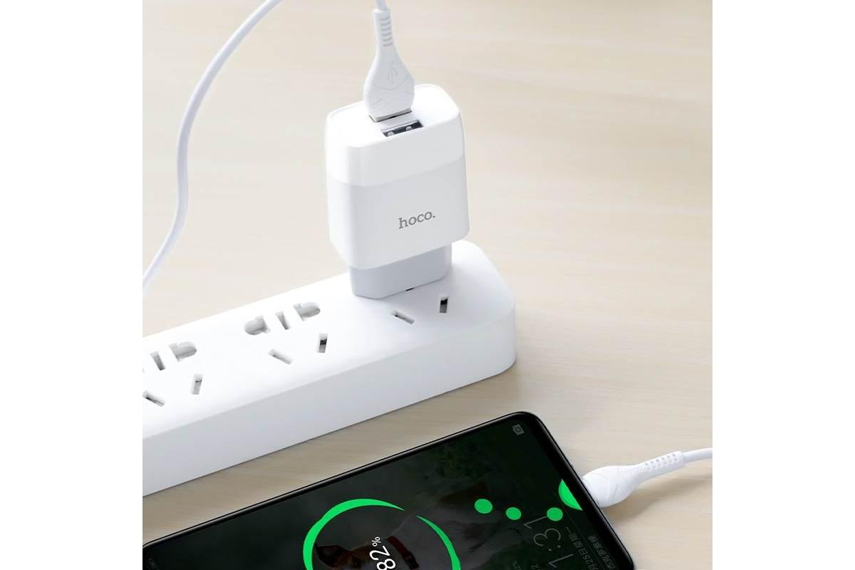 Сетевое зарядное устройство 2USB + кабель Type-C HOCO С73A charger set