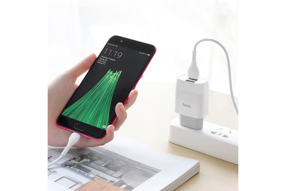 Сетевое зарядное устройство 2 USB 2400 mAh + кабель micro USB HOCO C73A белый