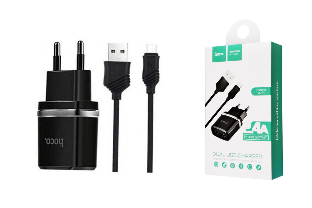 Сетевое зарядное устройство USB 1000 mAh + кабель micro USB HOCO C11 черный