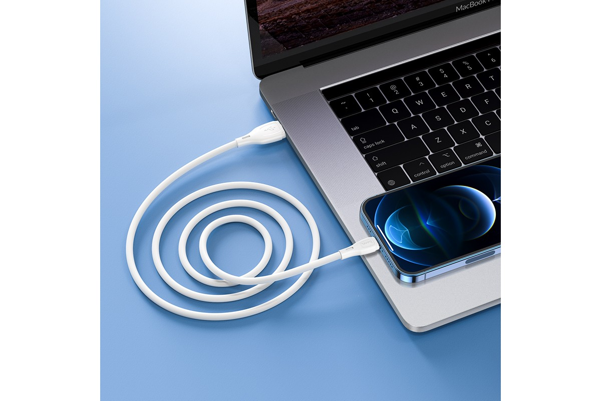 Кабель для iPhone HOCO X61 Ultimate silicone charging data cable for Lightning 1м белый