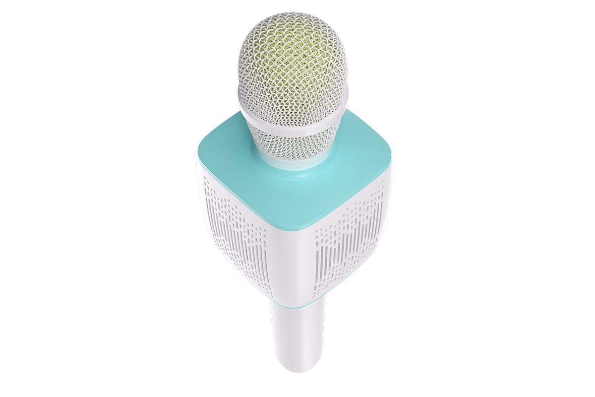 Портативная беспроводная акустика караоке HOCO BK5 Cantando microphone цвет бело-синий
