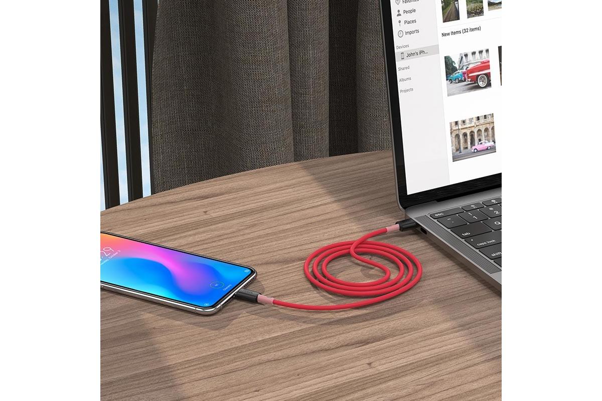 Кабель USB micro USB HOCO X48 Soft silicone charging data cable 1 метр красный