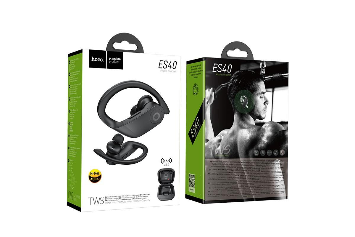 Bluetooth-гарнитура ES40 General TWS bluetooth earphone HOCO черная