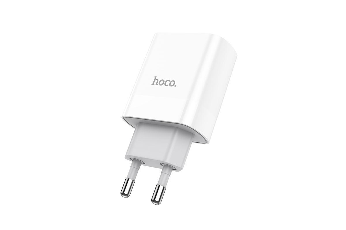 Сетевое зарядное устройство USB 2400mAh HOCO C80A Rapidol single port PD+ QC3.0 charger белый