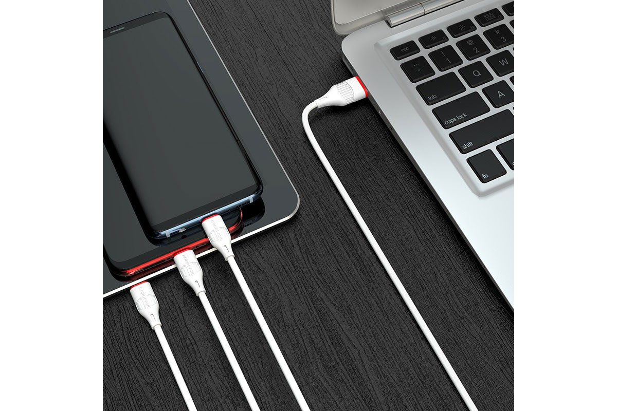 Кабель USB 3 в 1 BOROFONE BX17 Type-C/Lightning/Micro 2.4A (белый) 1 метр
