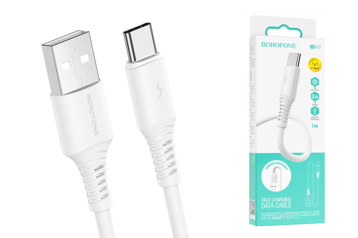 Кабель USB - USB Type-C BOROFONE BX47  белый 1м