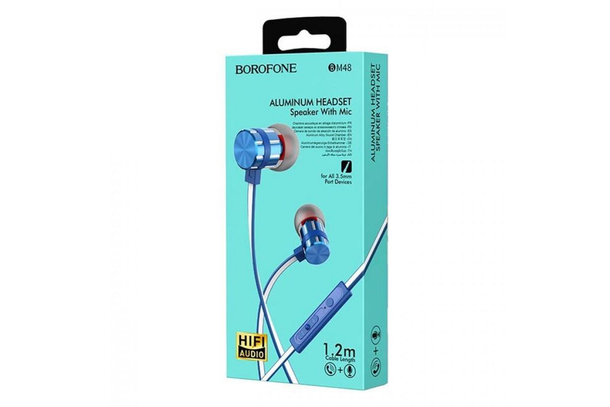 Наушники BOROFONE BM48 Acoustic universal earphones 3.5мм цвет синий