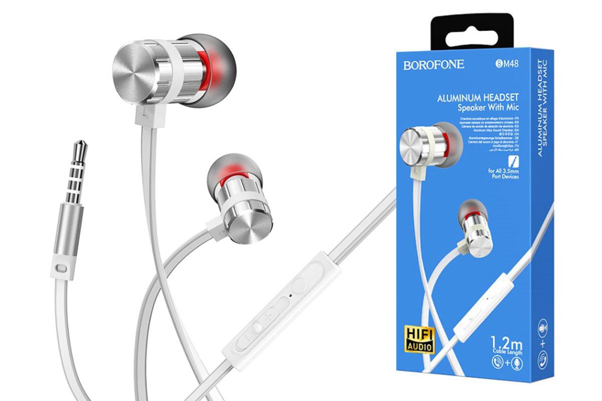Наушники BOROFONE BM48 Acoustic universal earphones 3.5мм цвет серебристый