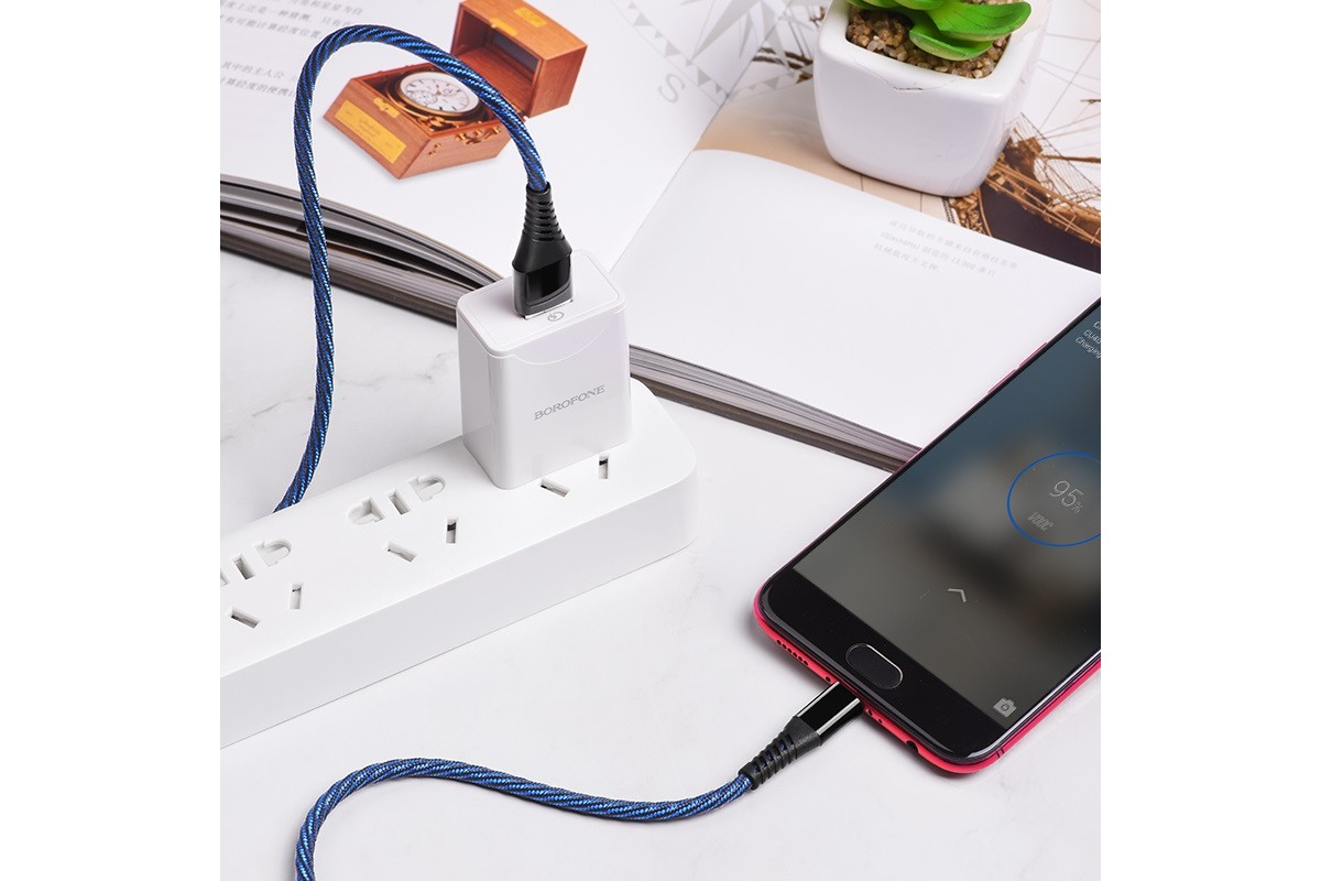 Кабель USB micro USB BOROFONE BU13 Craft Micro 4A fast charging data cable (черный) 1 метр