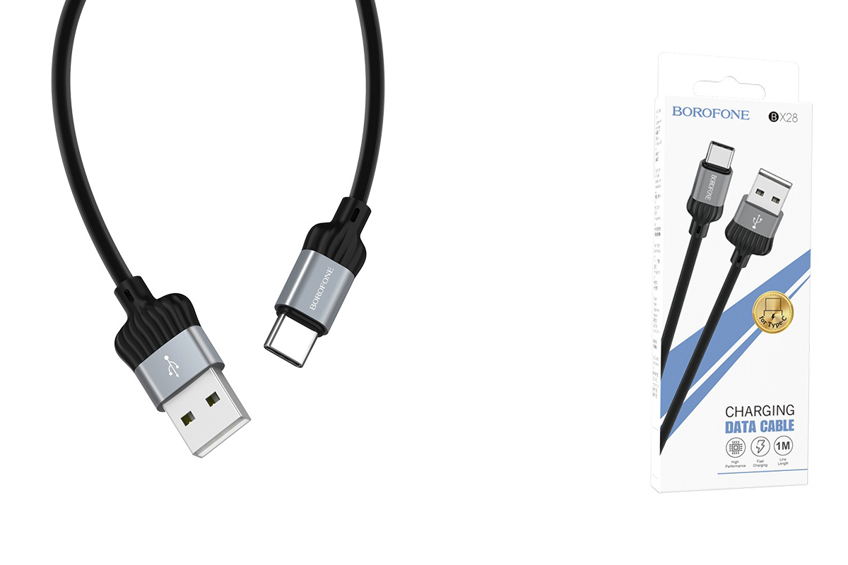 Кабель USB BOROFONE BX28 Dignity charging data cable for Type-C (серый) 1 метр