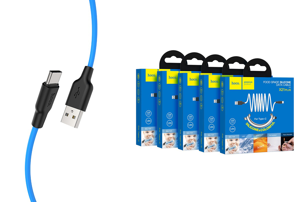 Кабель USB HOCO X21 Plus Silicone charging cable for Type-C (черно-синий) 1 метр
