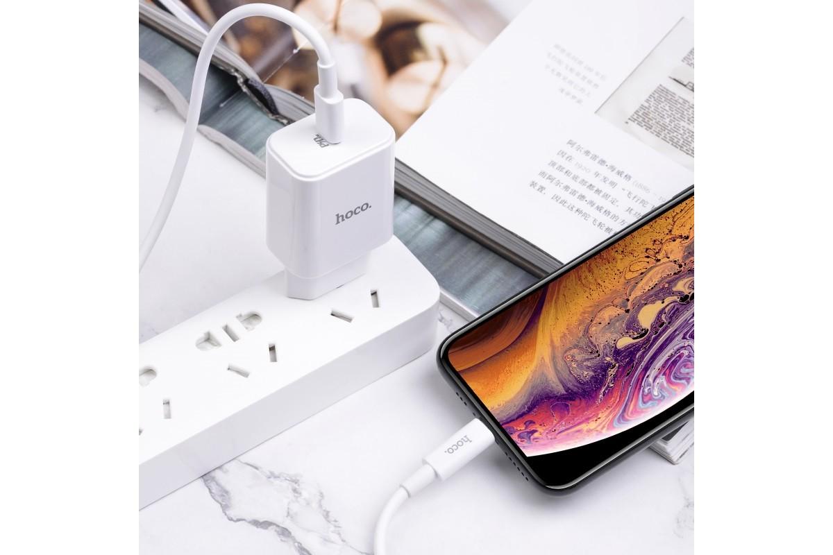 Сетевое зарядное устройство USB Star speed PD3.0 charger set(C to Lightning) HOCO C71А белый (для iPhone 11 серий)