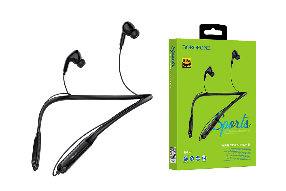 Bluetooth-гарнитура BOROFONE BE45 Delightful sports wireless earphonesl 3.5мм цвет черная