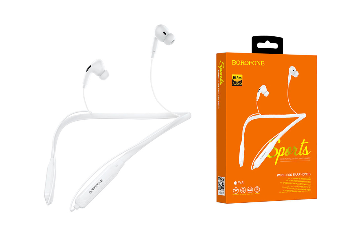 Bluetooth-гарнитура BOROFONE BE45 Delightful sports wireless earphonesl 3.5мм цвет белая