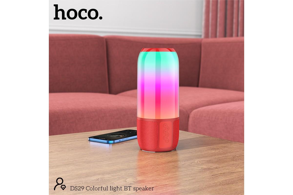 Портативная беспроводная акустика HOCO DS29 Colorful light BT speaker цвет красный