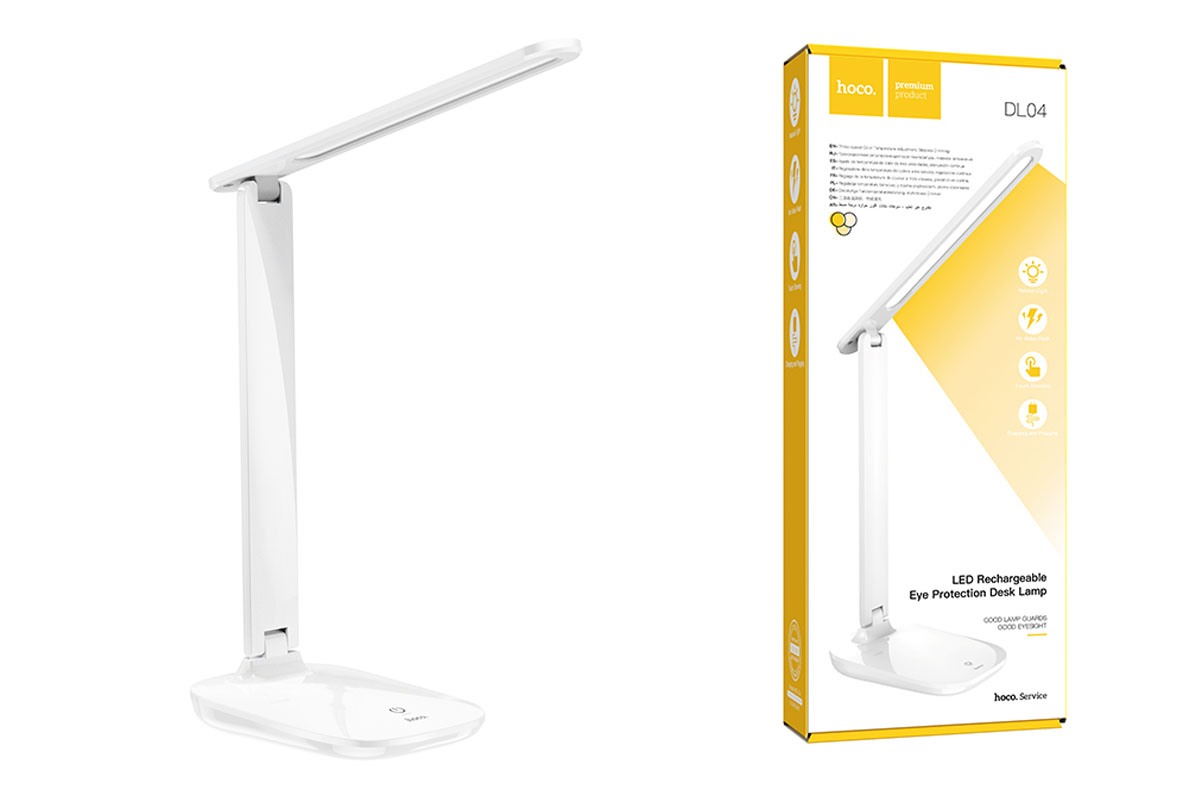 Настольный светильник светодиодный HOCO DL04 LED rechargeable eye protection desk lamp цвет белый