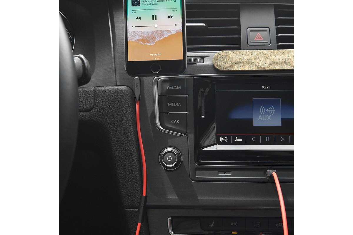 Кабель удлинитель HOCO UPA12 AUX Audio cable 3.5 1 метр красный с микрофоном
