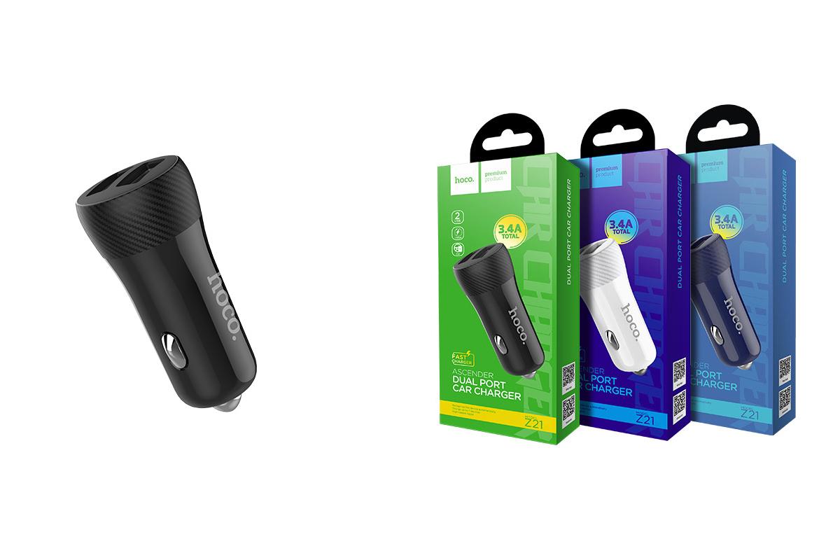 Автомобильное зарядное устройство 2USB HOCO Z21 Ascender double USB port car charger with digital display 2400 mAh черный