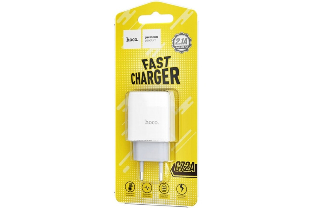 Сетевое зарядное устройство USB 2400mAh HOCO C72A Glorious singlel port charger  белый