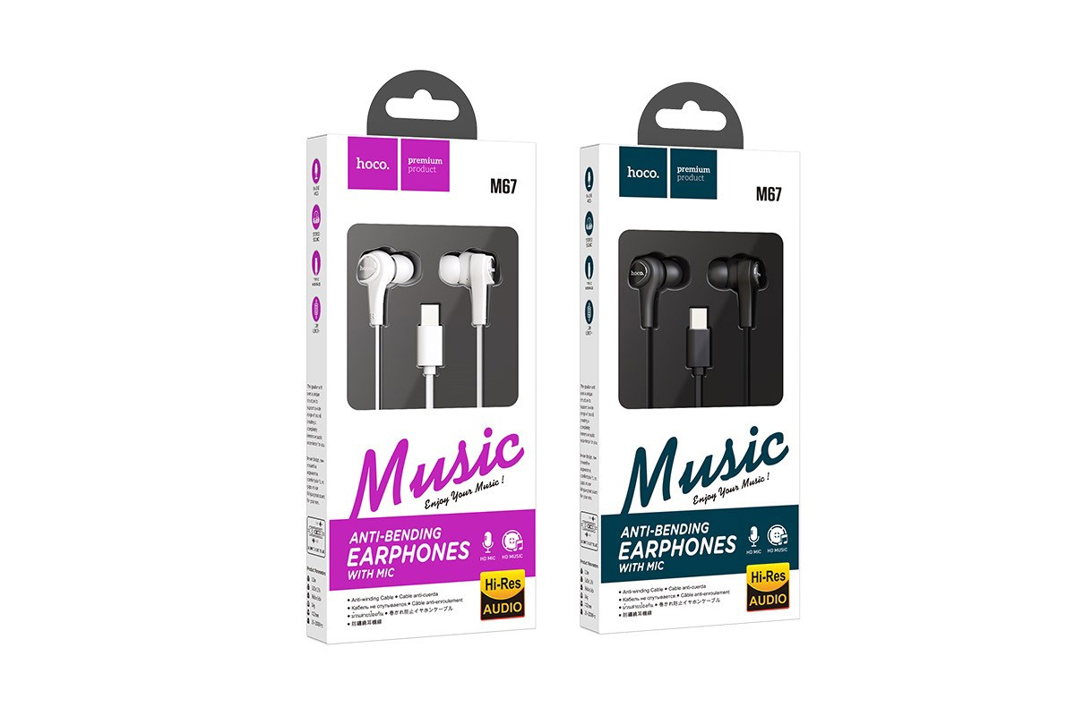 Гарнитура HOCO M67 PassionType-C wire control earphones белая
