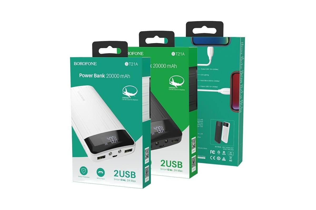 Универсальный дополнительный аккумулятор BOROFONE BT21A Universal energy mobile power bank 20000 mAh  черный