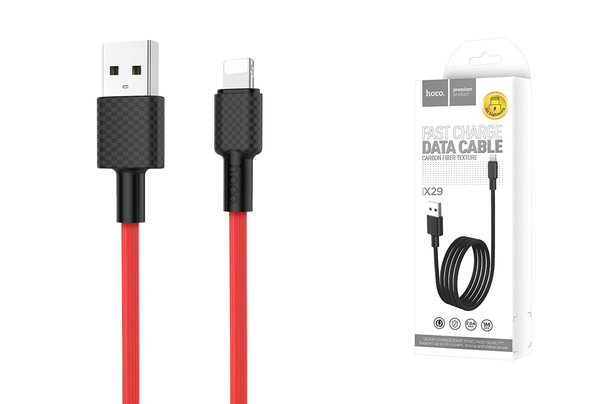 Кабель для iPhone HOCO X29 Superior style charging data cable for Lightning 1м красный