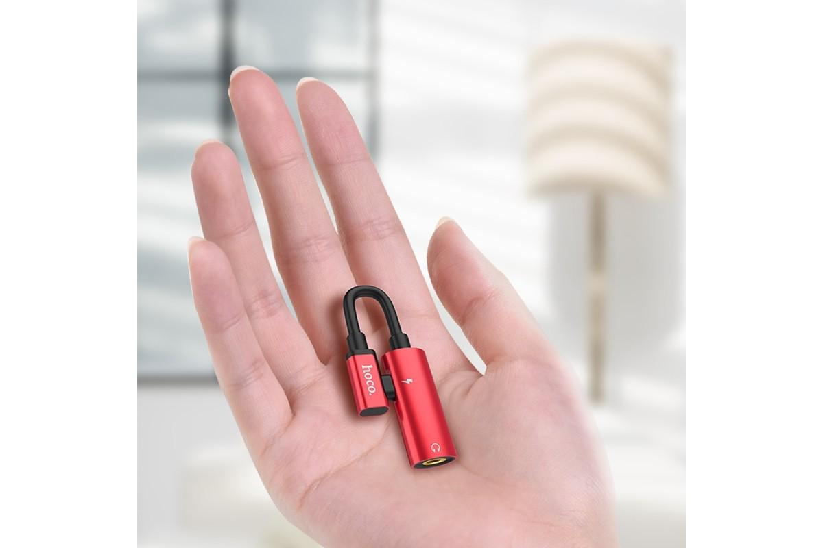 Переходник HOCO LS19 Type-C 2-in-1 Audio Converter с разъема  AUX на Type-C красный