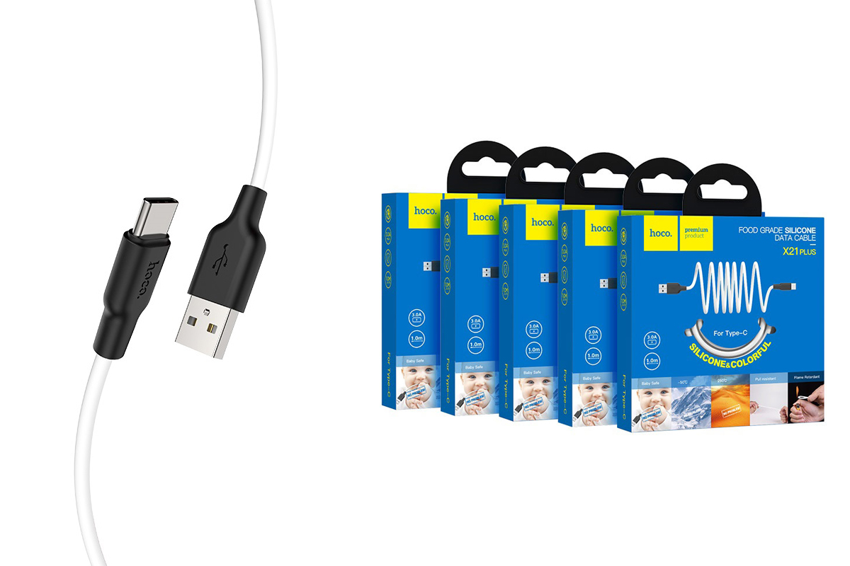 Кабель USB HOCO X21 Plus Silicone charging cable for Type-C (черно-белый) 1 метр