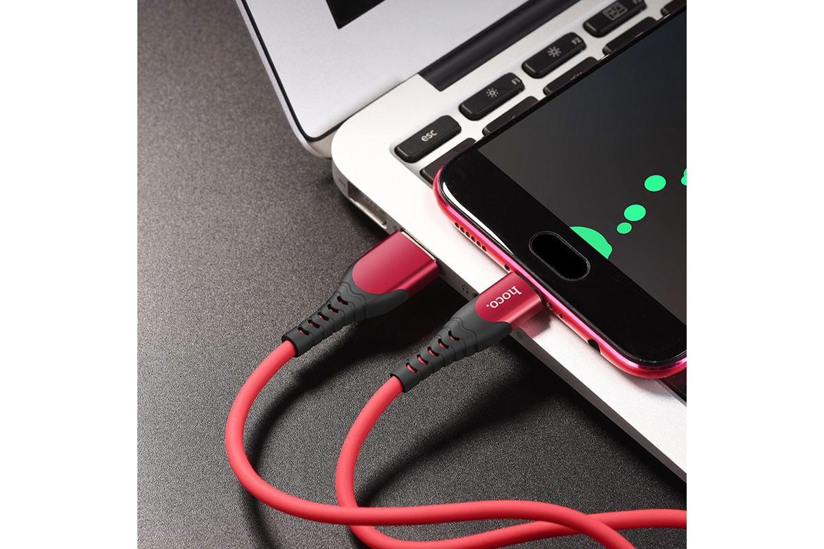 Кабель USB micro USB HOCO U80 Cool silicone charging cable for Micro (красный) 1 метр