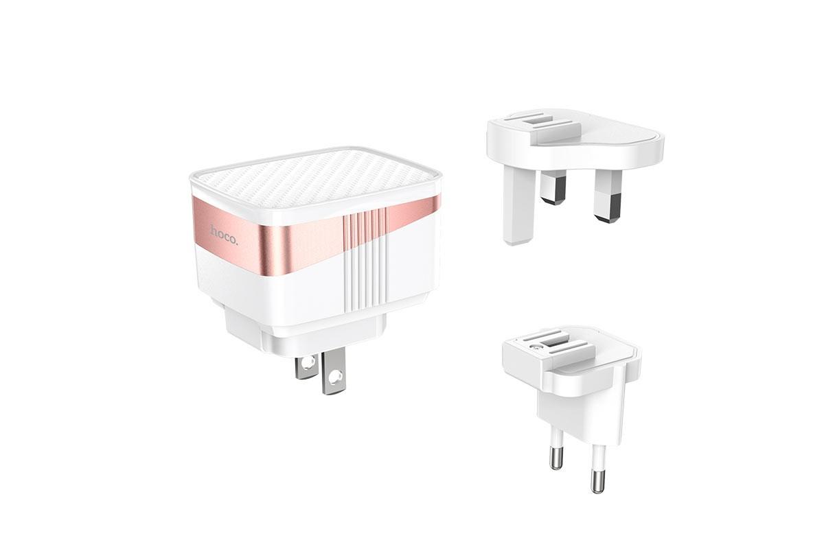 Сетевое зарядное устройство 3USB 2400mAh HOCO C83 Detachable pin charger белый Bele Series