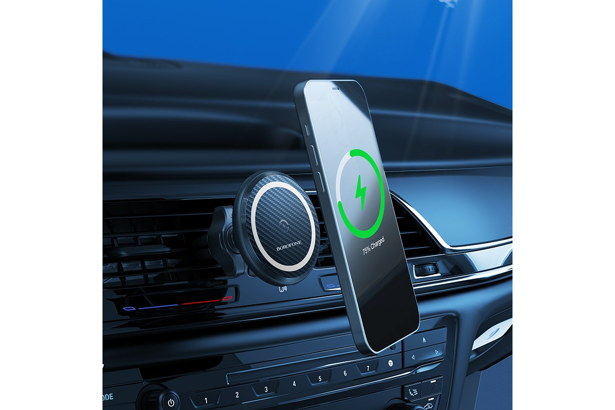 Держатель авто BOROFONE BH45 magnetic wireless charger k в решетку воздуховода черный
