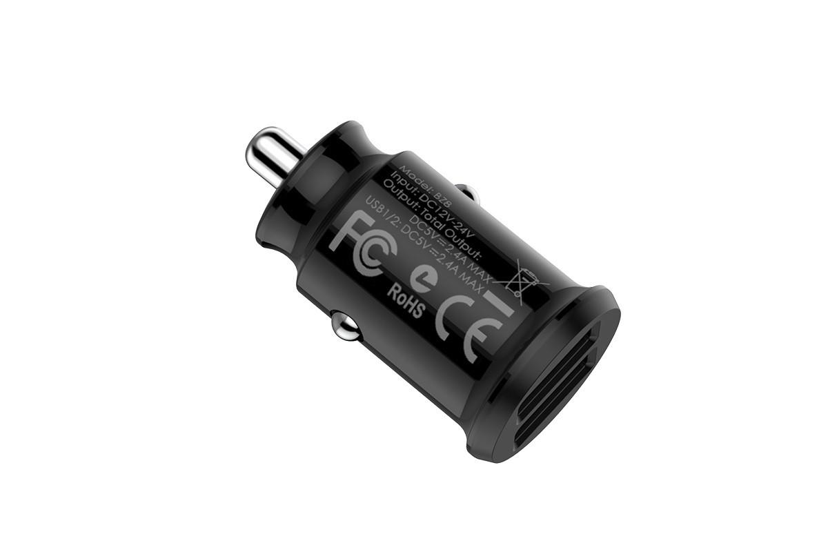 Автомобильное зарядное устройство 2USB BOROFONE BZ8 MaxRide dual-port car charger 2400 mAh черный