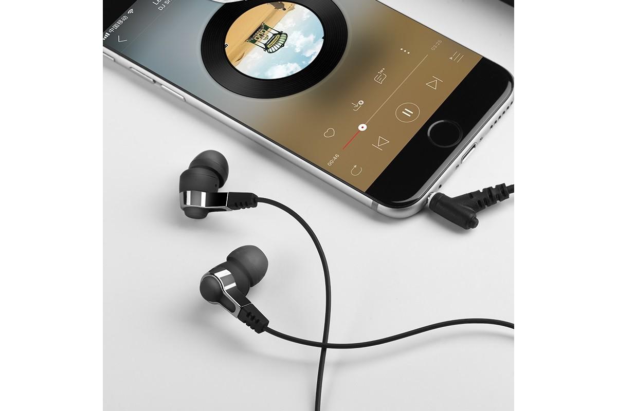 Гарнитура HOCO M52 Amazing rhyme universal wired earphones with mic 3.5мм черная