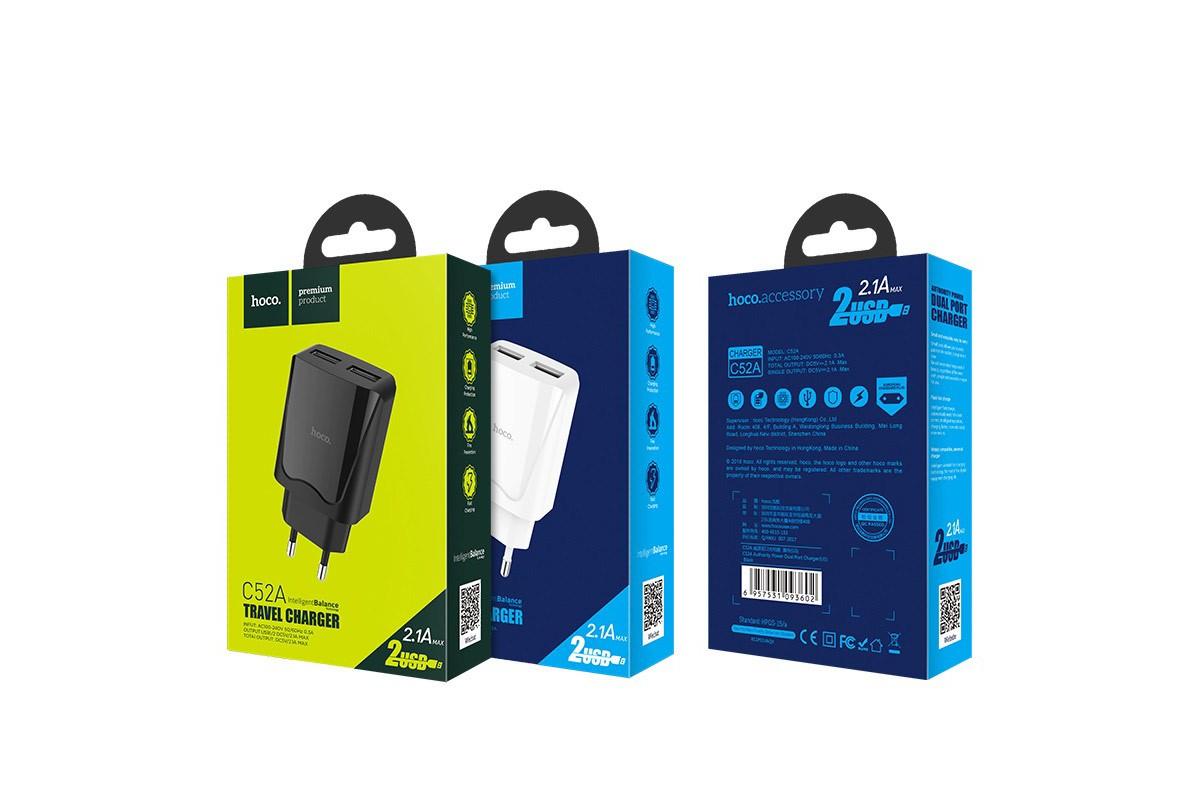 Сетевое зарядное устройство 2 USB 2400mAh  HOCO C52A Authority power dual port charger черный