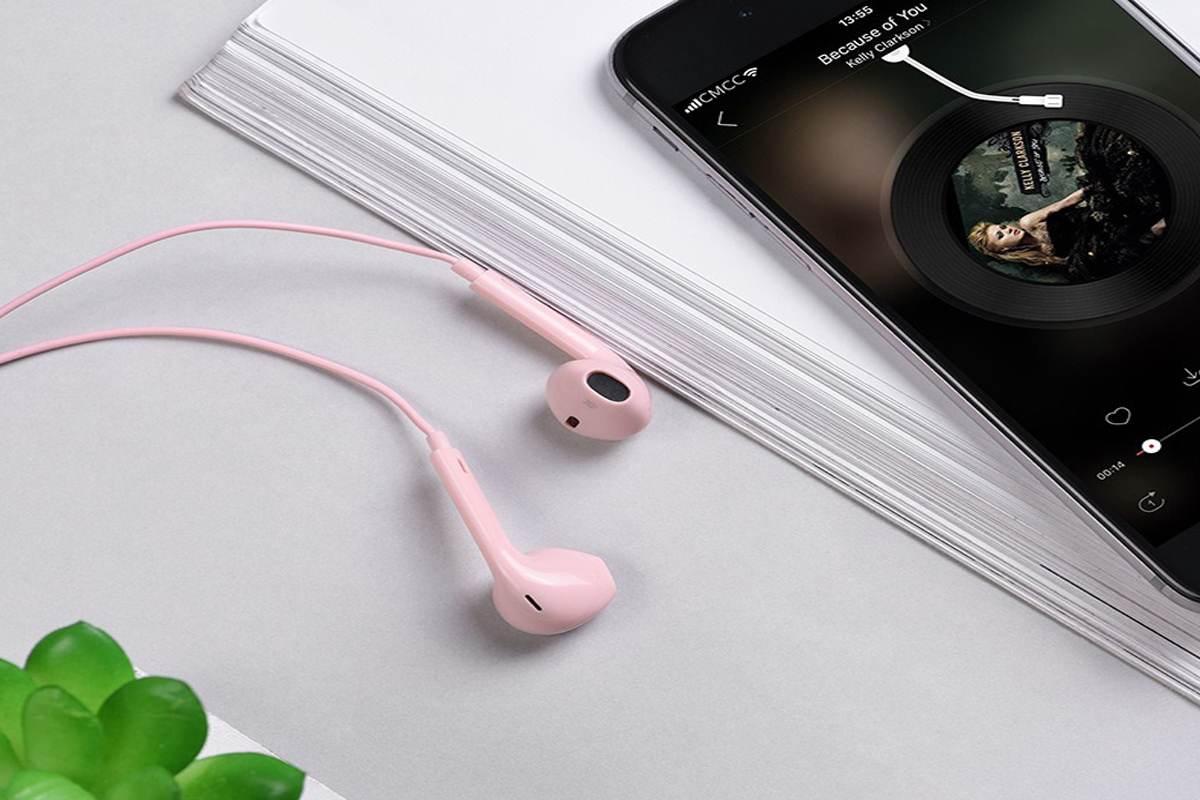 Гарнитура HOCO M55 Memory sound wire control earphones with mic розовая