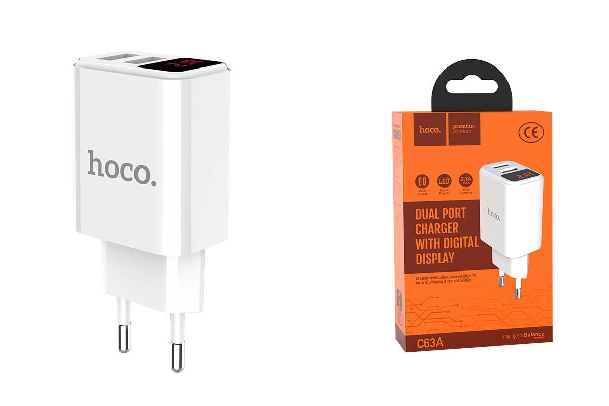 Сетевое зарядное устройство 2 USB 2400mAh  HOCO C63A Victoria dual port charger with digital display белый