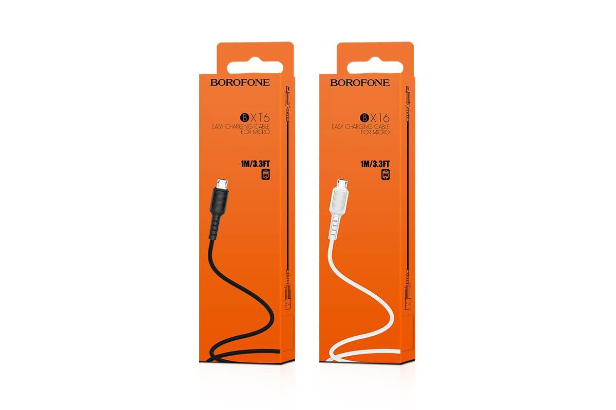 Кабель USB micro USB BOROFONE BX16 Easy charging cable (белый) 1 метр